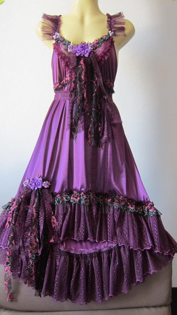 romantic vintage inspired burgundy dress with lace,roses,vintage motifs and shabby detail...