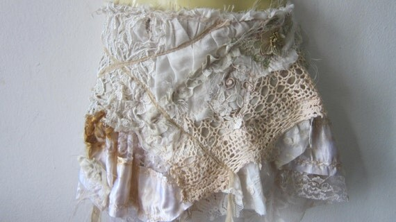 vintage inspired fantasy lace gothic bohemian gypsy fairy skirt...belt/tutu/shawl...