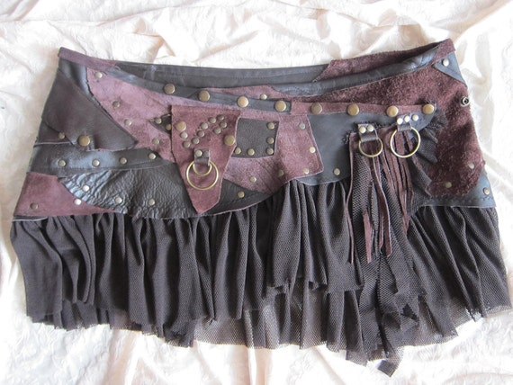 "GLAMAZON.. bohemian chocolate leather mini skirt belt/tutu with stud detail....40"" to 54"" waist"