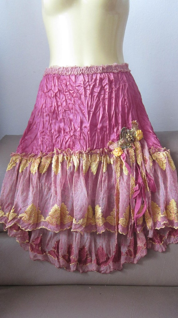 gorgeous crushed rose pink satin and lace vintage inspired skirt/top with detail on thigh...