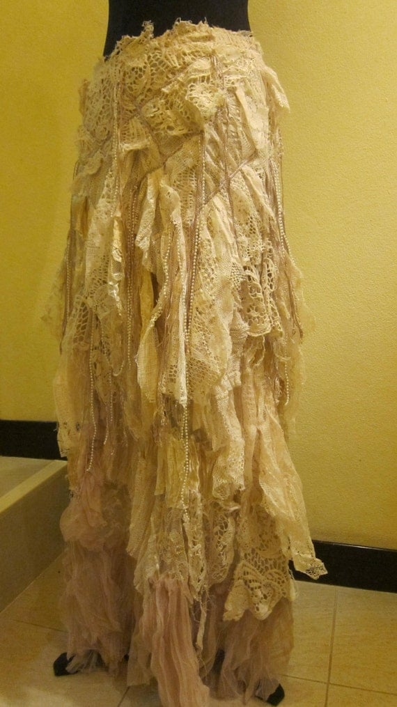 she has stories to tell...vintage inspired shabby bohemian gypsy skirt/dress ...