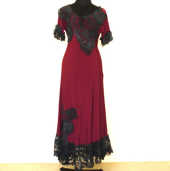 shabby chic...maroon and black crochet vintage inspired dress.......