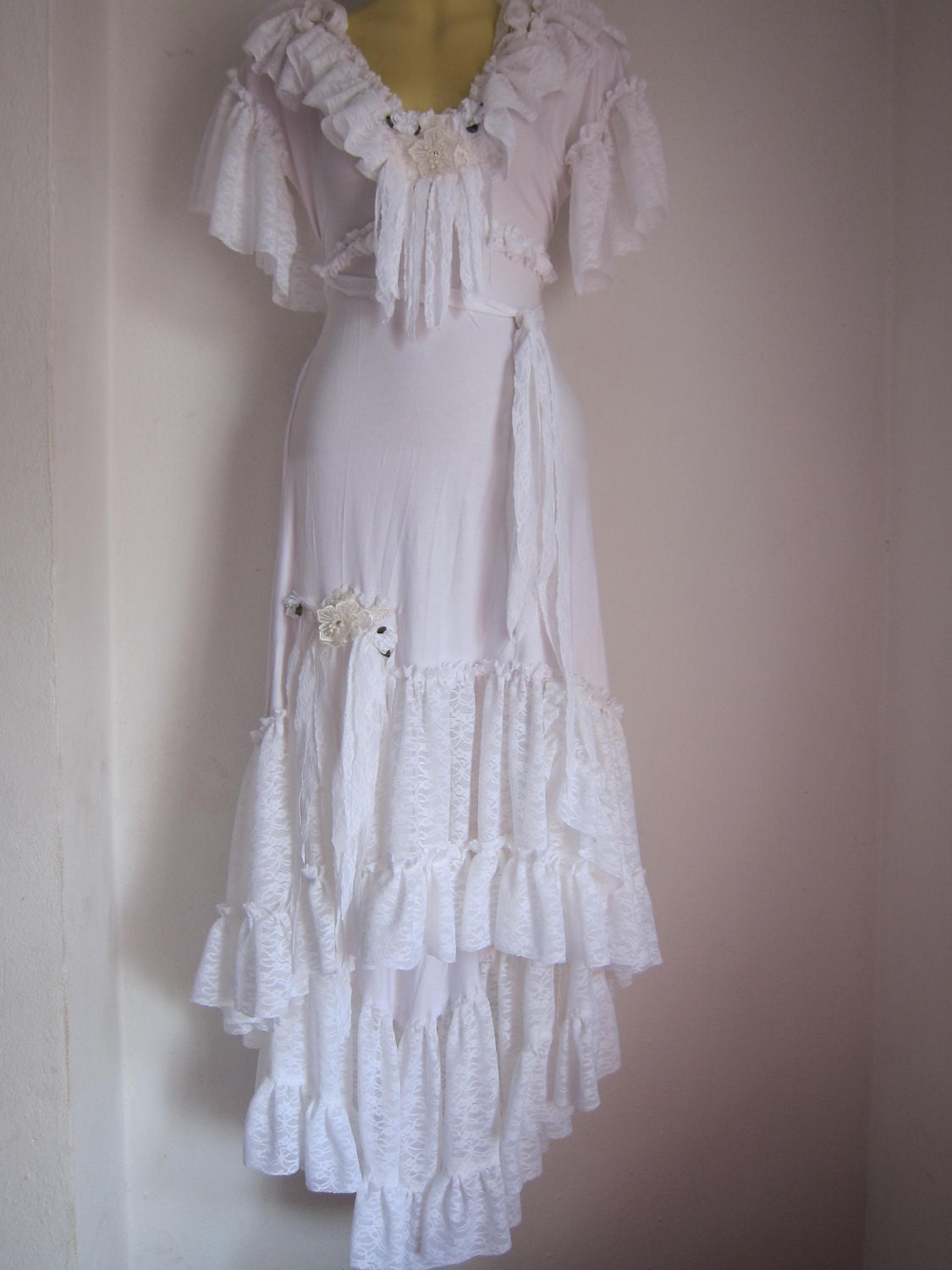 White Bohemian Gypsy Dress With Ruffles Of Lace Roses And