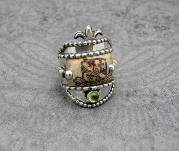 Sterling Silver Wine Cork Ring Peridot