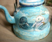 Enamel tea kettle, decoupage picture, ducks french vintage teapot, blue rustic primitive teapot.