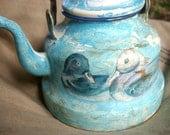 Enamel tea kettle, decoupage picture, ducks french vintage teapot, blue rustic primitive teapot.