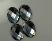2 pcs 18x25 mm Black Diamond Faceted Mirror Glass Round Cabochon GG40F1825
