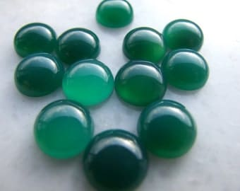 10 pcs 10 mm dyed green agate round cabochon  100CB