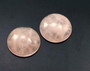 2 pcs 25 mm Pink Rose Quartz Round cabochon  250CB