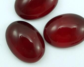 4 pcs 18x25 mm Ruby Red Glass Cabochons GR1825
