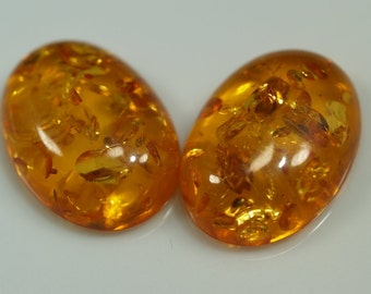 Baltic Amber (Imitation) Oval cabochon 2 pcs 18x25 mm