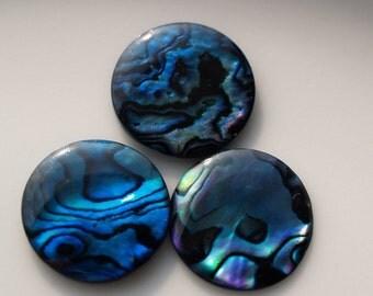 4 pcs 16 mm Paua Abalone round cabochon Dyed Paua Abalone  160CB