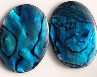 Paua Abalone Oval 2 pcs 22x30 mm cabochon Dyed Paua Abalone