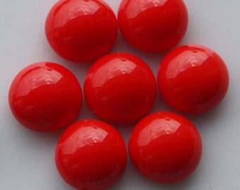 10 pcs 8 mm Coral Red Chzech Glass Round Cabochons GCR8  80CB