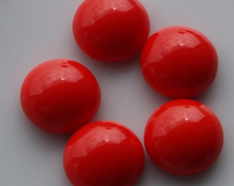 10 pcs 10 mm Coral Red Chzech Glass Round Cabochons GCR10  100CB