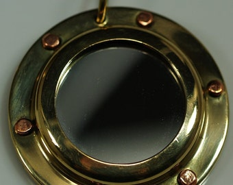 1 pc 43 mm Brass Porthole Pendants Findings steampunk part Base setting up size 24.5 mm setting size 29.5 mm