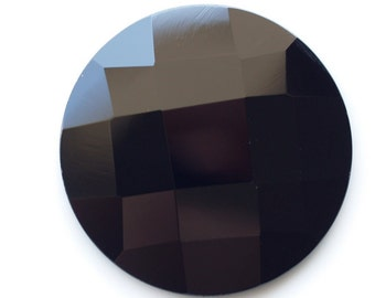 1 pc 40 mm Black Onyx Faceted Mirror Glass Round Cabochon GG21F40