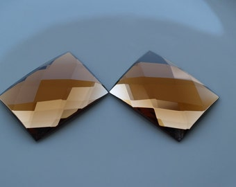 1 pc 30x40 mm Smoky Quartz Faceted Mirror Glass Rectangle Cabochon GG342FS3040