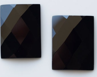 1 pc 30x40 mm Black Onyx Faceted Mirror Glass Rectangle Cabochon GG21FS3040