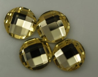 8 pcs 12 mm Yellow Faceted Mirror Glass Round Cabochon GG51F12