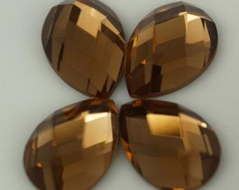 4 pcs 10x14 mm Smoky Quartz Faceted Mirror Glass Pear Cabochon GG342F1024