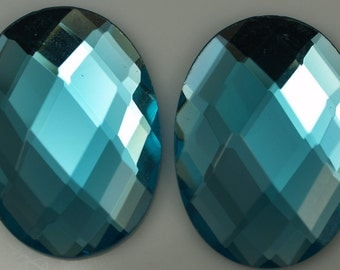 1 pc 22x30 mm Turquoise Blue Faceted Mirror Glass Round Cabochon GG102F2230