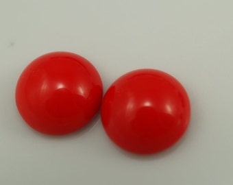4 pcs 14 mm Coral Chzech Glass Round Cabochons GCO14  140CB