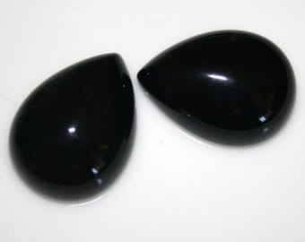 2 pcs 15x20 mm Onyx Pear cabochon