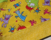 Pillowcase, STANDARD Size, Boogie Monsters on Yellow