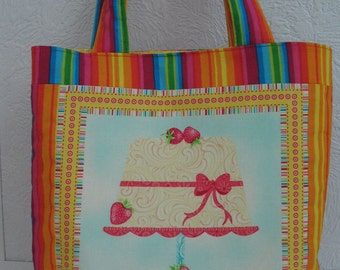 CLEARANCE One of a Kind Tote Bag, Strawberry Cake & Rainbow Stripes Reusable Birthday Gift Bag, Frosted Fondant by Henry Glass Gift under 15