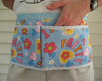 Garden Half Apron Gift under 20, Multi-use Art Apron, Vendor Apron, Tool Apron, One of a Kind CLEARANCE Light Blue with Hearts and Flowers
