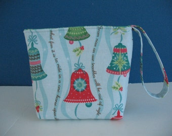 Christmas Bells Wristlet, SALE Velcro Pouch, Northcott Sheri Berry Small Fabric Holiday Cosmetic Bag Gift under 10 Jingle Bell Organizer Bag