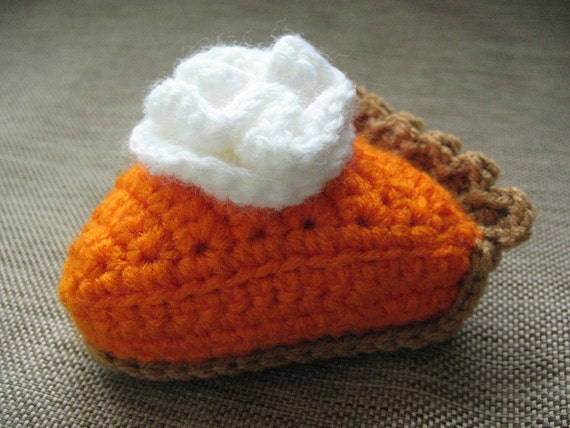 Crochet Play Food, Slice of Pumpkin Pie with Whipped Cream