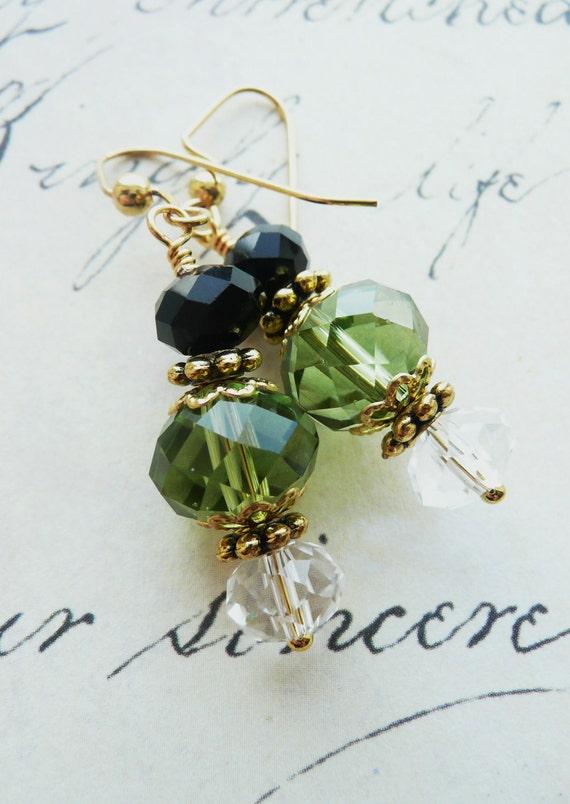 Green, Black & Crystal Dangle Earrings Beaded Czech Glass Gold Mother's Day