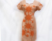 1960s Home sewn Peach/Coral Shift Dress with Orange Detail