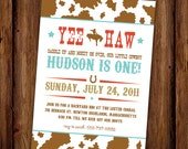 Cowboy Birthday Invitation - Yee Haw Rodeo Cowboy Birthday Invite - Hoedown - Yee Haw - Bucking Bronco - Cow Print