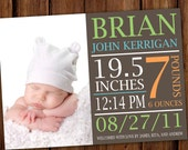 Large Text Typography Baby Announcement - Jungle Gym Baby Boy Birth Announcement - Bold Baby Announcement