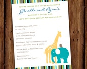 Jungle Baby Shower Invitation - The Mighty Jungle - Modern Jungle Animals - Printable file or printed invitations