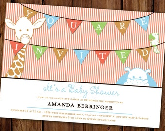 Jungle Baby Shower Invitation - Pennant Banner - Jungle Animals - Printable File or Printed Invitations