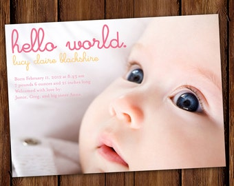 Hello World Photo Baby Announcement, Birth Announcement, Printable or Prints