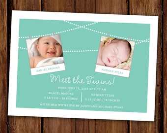 Twins Birth Announcement - Photo Announcement - Meet the Twins - Printable or Printed Invitations