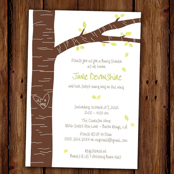 Trees Party Invitation - Falling Leaves - Summer Party - Fall Party - Spring Party - Woodland Carved Tree