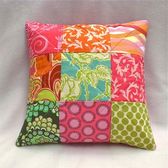 Modern Quilted Pillow Covers : Items similar to Quilted Pillow Cover Patchwork - Modern Sunny Summer Colors Pink Turquoise ...