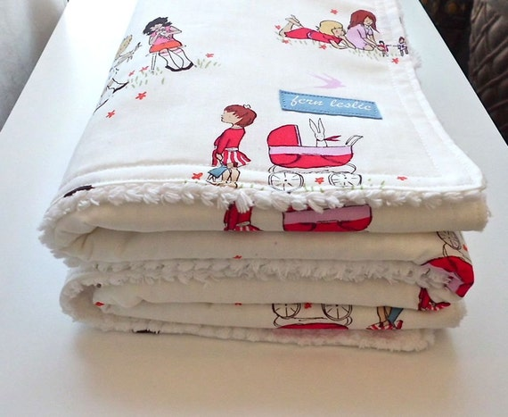 Baby Blanket - Chenille Backed - Red and Pink Children at Play Dolls Print