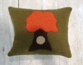Orange and Green Felted Tree Pillow with organic cotton filling