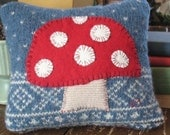 eco friendly handmade felted wool red mushroom pillow with orangic cotton filling
