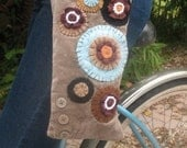 Brown and Blue BOHO Purse Handmade From Recycled Fabrics