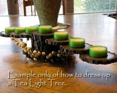 Walnut Tealight Candle Tree with color wraps