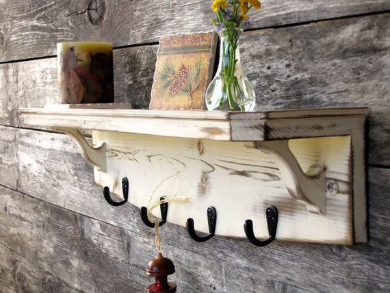Distressed Coat Rack Wooden Shelf Cottage Chic