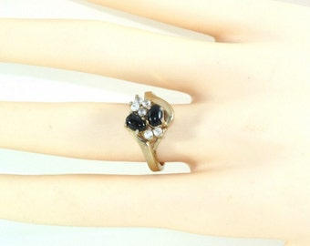Ring - Two Oval Onyx and  Six (6) Clear Round Cut Topaz Ring Prong Set Ring